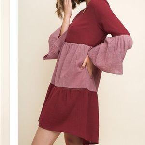 Dresses & Skirts - Beautiful boho mini dress. Burgundy. Loose fit.